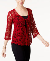 Alfani Petite Cotton Crochet-Lace Cardigan, Only at Macy's