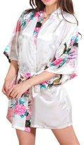 Geval Women's Printed Kimono Robe Satin Pajamas Short Nightgown(,L)