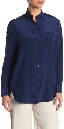 Vince Oversized Button Front Silk Blouse