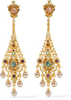 Ben-Amun Gold-Plated Stone Clip Earrings