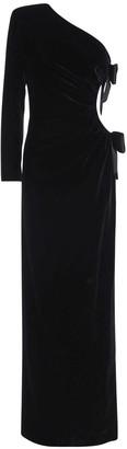 Saint Laurent One Shoulder Velvet Long Dress