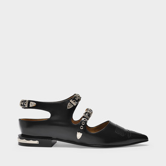 Toga Pulla Flat Shoes With Buckles In Black Leather