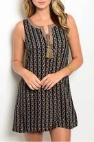 En Creme Navy Taupe Sleeveless Dress