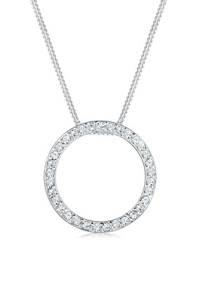 Elli Women's 925 Sterling Silver Swarovski Crystals Circle Geo Necklace - 45cm length