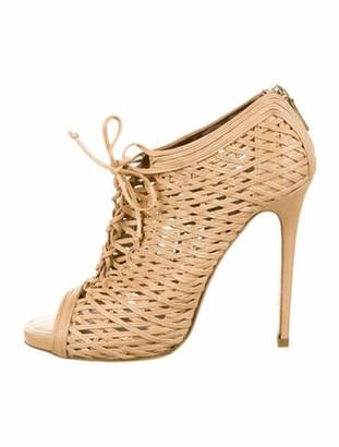 Tabitha Simmons Leather Peep-Toe Ankle Boots Nude