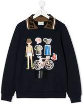 Fendi TEEN graphic-print collared sweatshirt