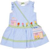 Florence Eiseman Sleeveless Gingham Seersucker Sundress w/ Bag, Blue, Size 2T-6