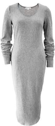 Grey Rib Knit Curved Dress