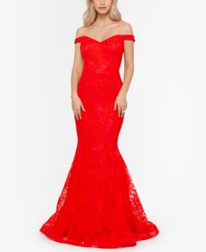 Xscape Evenings Lace Off-The-Shoulder Gown