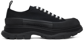 Alexander McQueen Black Tread Slick Lace-Up Sneakers