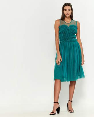 P.A.R.O.S.H. Illusion Neck Ruffled Bodice Dress