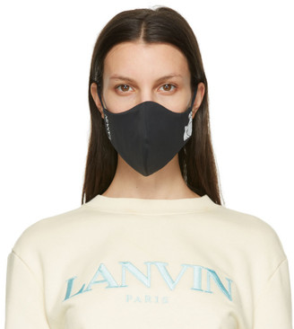 Lanvin Two-Pack Black and Navy Logo Face Masks