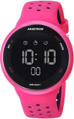 Armitron Sport Unisex 40/8423MAG Navy Blue Accented Digital Chronograph Magenta Silicone Strap Watch