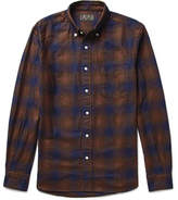 Beams Button-Down Collar Checked Cotton-Flannel Shirt