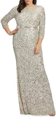 Mac Duggal Plus Size Sequin 3/4-Sleeve Column Gown