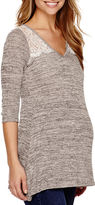 Asstd National Brand Maternity Lace Shoulder 3/4-Sleeve Top - Plus