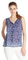 Velvet by Graham & Spencer Women's Printed Cotton Voile Sleeveless Shirt