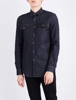 Givenchy Leather-detailed regular-fit denim shirt
