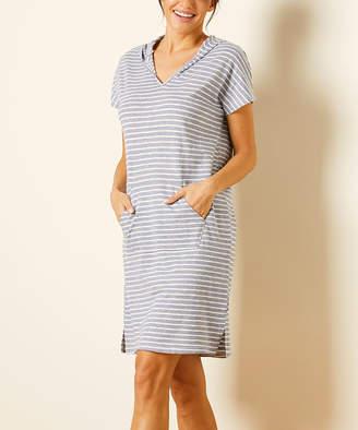 Simple By Suzanne Betro Simple by Suzanne Betro Women's Casual Dresses 101BLUE/WHITE - Blue & White Stripe Hooded Cap-Sleeve Dress - Women & Plus