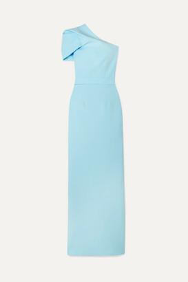 Safiyaa Kora One-shoulder Draped Crepe Gown - Light blue