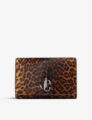Jimmy Choo Varenne leopard-print pony clutch bag