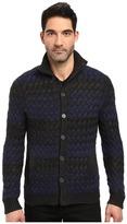John Varvatos Long Sleeve Button Through Sweater Jacket in Basket Weave Multiple Stripe Y1369S3B