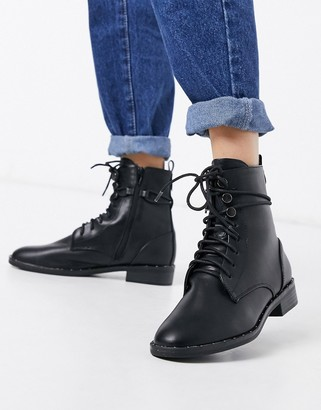 Call it SPRING arleta lace up military boots in black