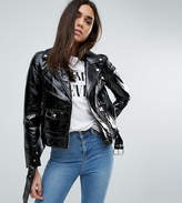 Warehouse Vinyl Zip Detail Biker Jacket