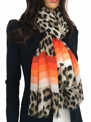 The Accessory Co. Women Cotton Leopard Print Scarf - Striped Scarf Spots Polka Dot Spots and Dots Horse Leopard Print Gifts Ladies Scarves Animal Pashmina Shawl