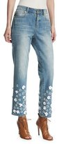 MICHAEL Michael Kors Floral Appliqué Cropped Boyfriend Jeans, Light Blue