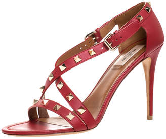 Valentino Red Leather Rockstud Cross Strap Sandals Size 40.5