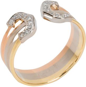 Cartier 18K Three Tone Gold Logo Diamond Ring Size 52
