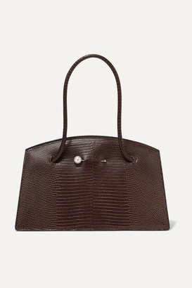 Little Liffner Faux Pearl-embellished Lizard-effect Leather Tote - Dark brown