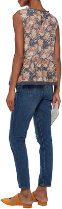 Current/Elliott The Easy Stiletto Distressed Mid-rise Slim-leg Jeans