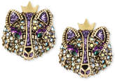 Betsey Johnson Gold-Tone Crystal Fox Stud Earrings