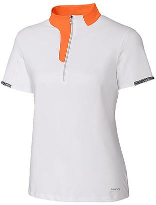 Cutter & Buck Women's Tee Shirts White - White & Orange Dane Mock Neck Top - Women