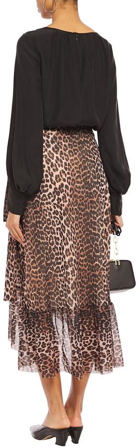 Thumbnail for your product : Ganni Leopard-print Stretch-mesh Midi Wrap Skirt