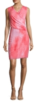 T Tahari Seraphina Printed Surplice Sheath Dress