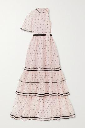 Erdem Natalina One-sleeve Flocked Silk-blend Organza Gown - Pink