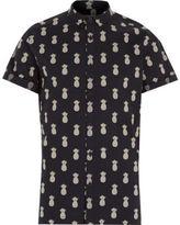 River Island MensNavy pineapple print short sleeve shirt