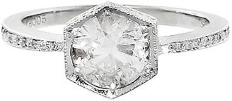 Cathy Waterman Black and White Diamond Hexagonal Bezel Platinum Ring