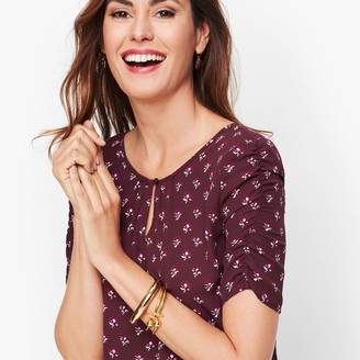 Talbots Floral Ruched Sleeve Top