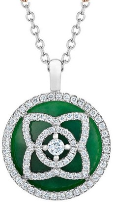 De Beers White Gold and Jade Enchanted Lotus Pendant