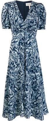 Saloni Printed V-Neck Dress
