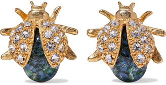 Ben-Amun 24-karat Gold-plated, Swarovski Crystal And Stone Earrings