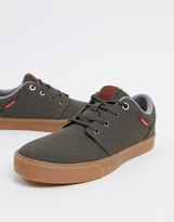 Jack and Jones canvas sneakers with gum sole in olive