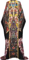 Roberto Cavalli Metallic-trimmed Printed Silk-chiffon Maxi Dress - IT38
