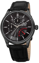 August Steiner Multifunction Genuine Leather Watch, 42mm