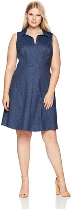London Times Women's Plus Size Sleeveless Collared Denim FIT and Flare Dress 16W