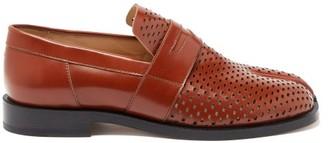 Maison Margiela Tabi Split-toe Perforated Loafers - Tan